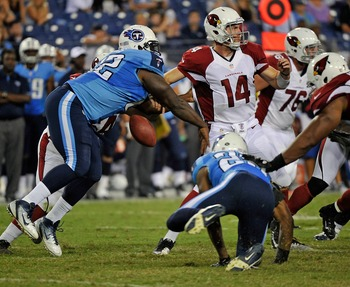 Lindley fumbles the ball against the Tennessee Titans.
