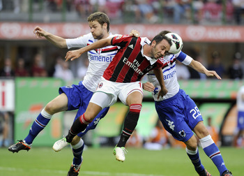 MILAN, ITALY - AUGUST 26:  Giampaolo Pazzini (C) of AC Milan during the Serie A match between AC Milan and UC Sampdoria at San Siro Stadium on August 26, 2012 in Milan, Italy.  (Photo by Claudio Villa/Getty Images)