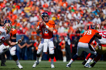 Peyton Manning gearing up for a pass