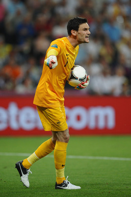 Hugo Lloris barking out orders.