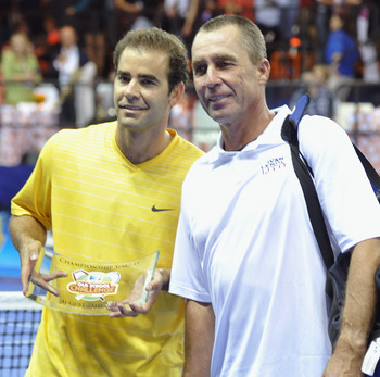 NEW YORK, NY - AUGUST 25:  Tennis players Pete Sampras (L) and Ivan Lendl pose during an exhibition match at the DIRECTV Old School Challenge Presented by ESPN at the 69th Regiment Armory on August 25, 2011 in New York City.  (Photo by Mike Coppola/Getty