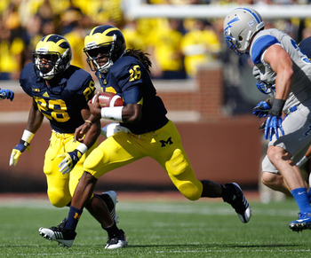 Michigan running back Fitz Toussaint didn't see much action Saturday