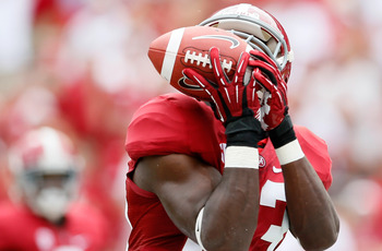 TUSCALOOSA, AL - SEPTEMBER 08:  Kevin Norwood #83 of the Alabama Crimson Tide pulls in this touchdown reception against the Western Kentucky Hilltoppers at Bryant-Denny Stadium on September 8, 2012 in Tuscaloosa, Alabama.  (Photo by Kevin C. Cox/Getty Ima