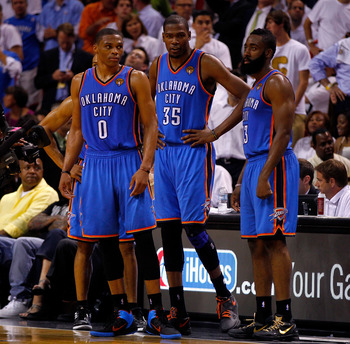 Russell Westbrook and Devin Durant to the left, is James Harden is odd man out?