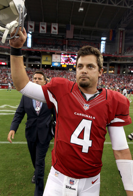 Kevin Kolb walks off the field victorious.