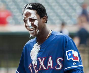 Profar gets pied after his first big league homer.
