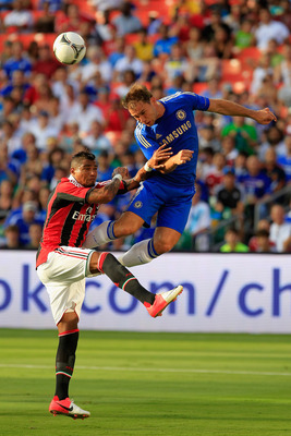 MIAMI GARDENS, FL - JULY 28: (R) Branislav Ivanovic #2 of Chelsea competes for the ball against (L) Kevin-Prince Boateng #10 of AC Milan during the Herbalife World Football Challenge 2012 at Sun Life Stadium on July 28, 2012 in Miami Gardens, Florida. (Ph