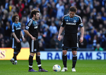 WEST BROMWICH, ENGLAND - MARCH 03:  Juan Mata and Frank Lampard of Chelsea look dejected during the Barclays Premier League match between West Bromwich Albion and Chelsea  at The Hawthorns on March 3, 2012 in West Bromwich, England.  (Photo by Laurence Gr