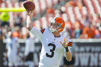 CLEVELAND, OH - SEPTEMBER 09: Starting quarterback Brandon Weeden #3 of the Cleveland Browns warms up prior to the game against the Philadelphia Eagles during their season opener at Cleveland Browns Stadium on September 9, 2012 in Cleveland, Ohio. (Photo