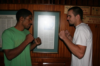 Heath Rud (right) took home the Driller Promotions amateur welterweight championship by defeating Melvin Cruz (right) on all three judges' scorecards.