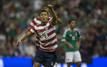 MEXICO CITY, MEXICO - AUGUST 15:  Michael Orozco of the United States celebrates after scoring during a FIFA friendly match between Mexico and US at Azteca Stadium on August 15, 2012 in Mexico City, Mexico. (Photo by Miguel Tovar/Getty Images)