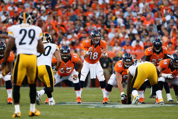 Peyton Manning orchestrating a touchdown drive against Steelers.