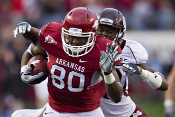 Chris Gragg led Arkansas with seven receptions.