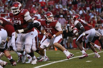Alvin Bailey (67) goes to make a block against Jacksonville State on Sept. 8.