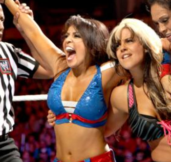 Layla and Kaitlyn have tagged multiple times in the past. Now they square off as opponents. (Photo Credit: WWE.com)