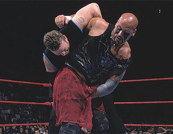 Road Dogg and Headbanger Thrasher in the ring. Photo credit WWE.