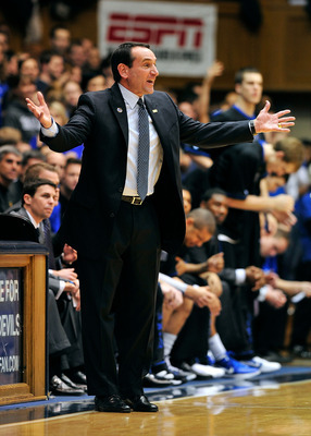 DURHAM, NC - JANUARY 19:  Coach Mike Krzyzewski of the Duke Blue Devils pleads for a foul against the Wake Forest Demon Deacons during play at Cameron Indoor Stadium on January 19, 2012 in Durham, North Carolina.  (Photo by Grant Halverson/Getty Images)