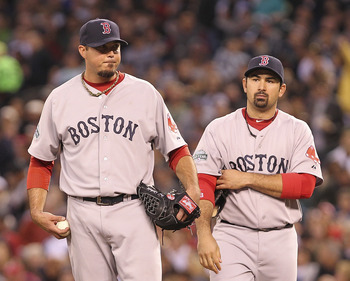 Josh Beckett (left) and Adrian Gonzalez