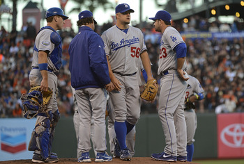 Joe Blanton leaves the mound.