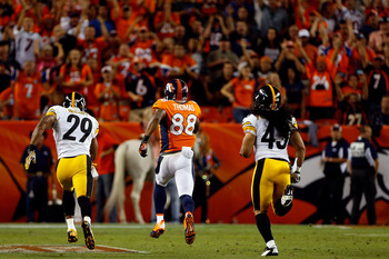 Demaryius Thomas turned a short pass into a momentum-shifting 71-yard touchdown.
