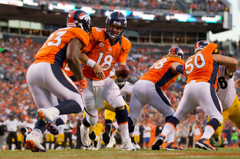 Peyton Manning orchestrated the no-huddle offense with the perfect mixture of running and passing plays.