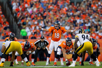 There might be no one better than Denver's No. 18 at changing plays at the line of scrimmage.