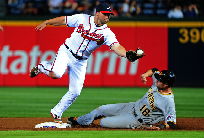 ATLANTA, GA - APRIL 30: Dan Uggla #26 of the Atlanta Braves makes a catch to force out Neil Walker #18 of the Pittsburgh Pirates at Turner Field on April 30, 2012 in Atlanta, Georgia. (Photo by Scott Cunningham/Getty Images)