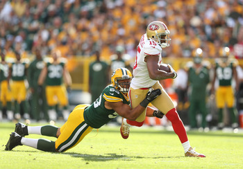 Michael Crabtree led the 49er receivers with seven catches