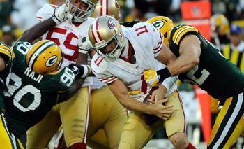 Clay Matthews collected 2.5 sacks on Alex Smith.