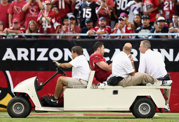 John Skelton has to ride off in the cart after ankle injury.