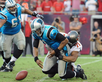 Cam Newton was sacked three times and threw two interceptions against the Bucs in Week 1.