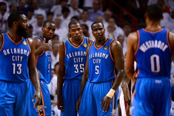 James Harden, Serge Ibaka, Kevin Durant, Kenrick Perkins and Russell Westbrook present a huge obstacle.
