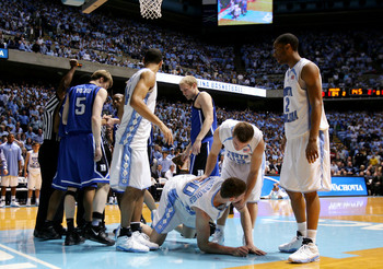 Gerald Henderson hit Hansbrough with a wicked elbow. tarheelmania.wordpress.com