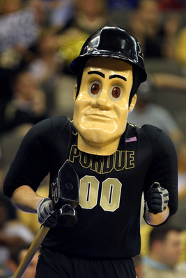 OMAHA, NE - MARCH 18:  Purdue Pete, the mascot of the Purdue Boilermakers performs against the Kansas Jayhawks during the third round of the 2012 NCAA Men's Basketball Tournament at CenturyLink Center on March 18, 2012 in Omaha, Nebraska.  (Photo by Doug