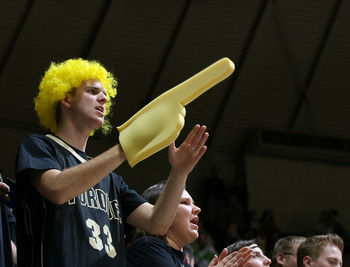 Dec 7, 2011; West Lafayette, IN, USA; Purdue Boilermakers fan cheers for Purdue during a game against the Western Carolina Catamounts at Mackey Arena. Purdue defeated Western Carolina 65-60. Mandatory Credit: Brian Spurlock-US PRESSWIRE