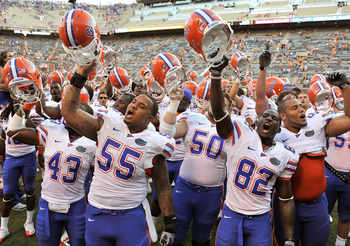 Gators singing the alma mater in Neyland Stadium, 2010