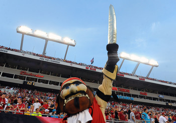 Tampa Bays mascot may not be wielding that sword so confidently when the Buccaneers travel to New York to face the defending Super Bowl champions on Sunday.