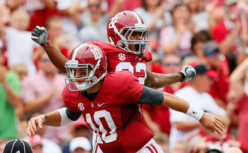 Quarterback AJ McCarron and wide receiver Christion Jones hooked up for a pair of scoring strikes last week.
