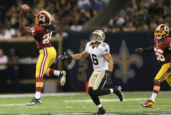 Dejon Gomes intercepting a Brees pass