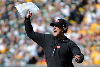 Jim Harbaugh orchestrates the game against Green Bay