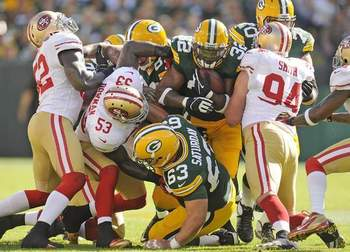 Cedric Benson out of sync with offensive line.