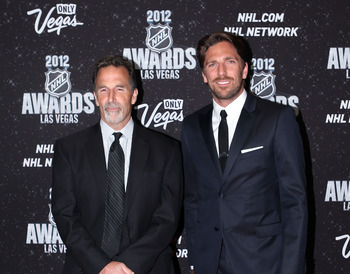 LAS VEGAS, NV - JUNE 20:  Head Coach John Tortorella and Henrik Lundqvist of the New York Rangers arrive before the 2012 NHL Awards at the Encore Theater at the Wynn Las Vegas on June 20, 2012 in Las Vegas, Nevada.  (Photo by Bruce Bennett/Getty Images)