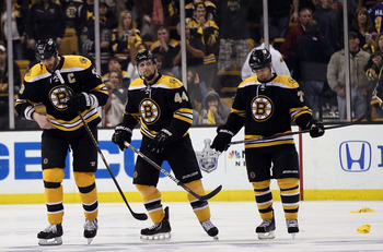 Dennis Seidenberg, Andrew Ference and Zdeno Chara were all on the 2011 Stanley Cup championship team.
