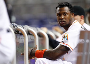 MIAMI, FL - JULY 23: Hanley Ramirez #2 of the Miami Marlins looks on from the dugout during a game against the Atlanta Braves at Marlins Park on July 23, 2012 in Miami, Florida.  (Photo by Sarah Glenn/Getty Images)