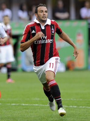 MILAN, ITALY - AUGUST 26:  Giampaolo Pazzini of AC Milan during the Serie A match between AC Milan and UC Sampdoria at San Siro Stadium on August 26, 2012 in Milan, Italy.  (Photo by Claudio Villa/Getty Images)