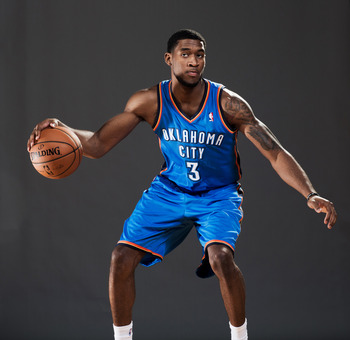 TARRYTOWN, NY - AUGUST 21:  Perry Jones #3 of the Oklahoma City Thunder poses for a portrait during the 2012 NBA Rookie Photo Shoot at the MSG Training Center on August 21, 2012 in Tarrytown, New York. NOTE TO USER: User expressly acknowledges and agrees