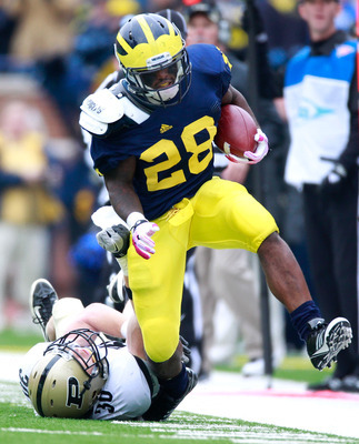 Michigan running back Fitz Toussaint missed the Alabama game and was invisible against Air Force