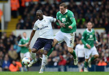 Norwich City's Grant Holt gave Ledley King a torrid time on a bad day all around for Spurs as they lost 2-1 to Norwich City in April 2012.