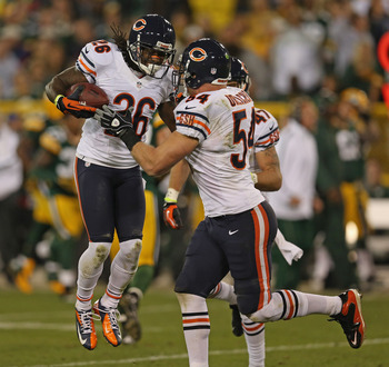 Jennings' (26) interception was the only turnover for the Bears last night.