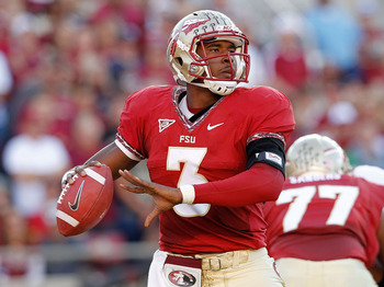 TALLAHASSEE, FL - NOVEMBER 12:  EJ Manuel #3 of the Florida State Seminoles passes during a game against against the Miami Hurricanes at Doak Campbell Stadium on November 12, 2011 in Tallahassee, Florida.  (Photo by Mike Ehrmann/Getty Images)